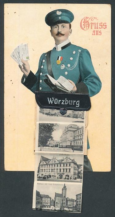 Leporello-AK Würzburg, Briefträger mit Posttasche voller Ansichten, Kaiserstrasse, Falkenhaus, Residenz