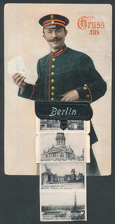 Leporello-AK Berlin, Briefträger mit Posttasche voller Ansichten, Pariser Platz und Brandenburger Tor, Reichstag