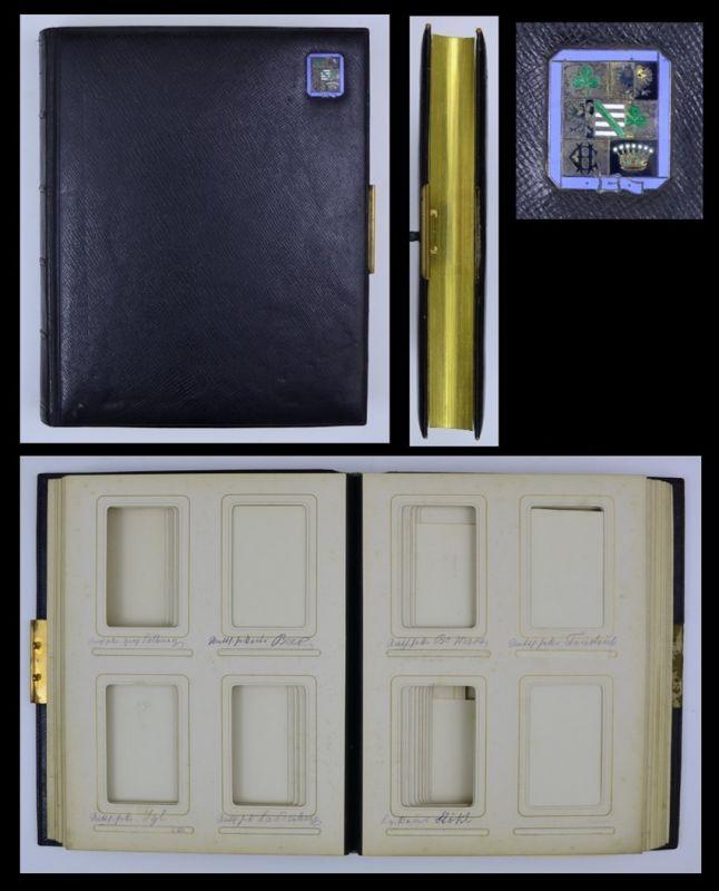Fotoalbum mit Ledereinband & Wappen, 14 Seiten mit Goldschnitt für Kabinett - und CDV-Fotos