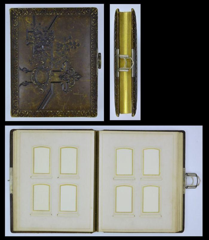 Fotoalbum mit Ledereinband, Verzierungen & Ornamente, Metallschliesse, 14 Seiten m. Goldschnitt für CDV - & Kabinettfotos