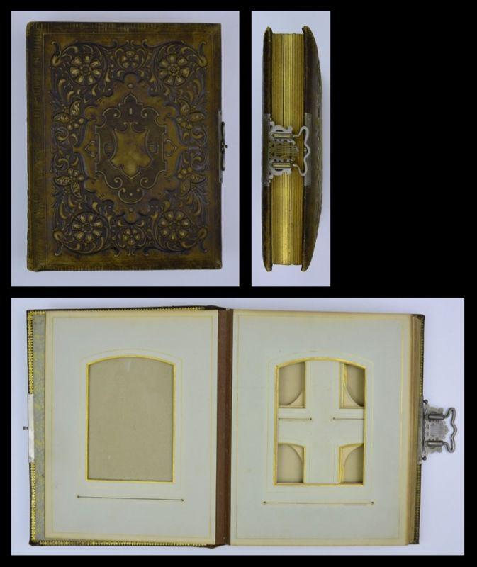 Fotoalbum mit Lerdereinband, Ornament-Verzierungen, Metallschliesse, 32 Seiten mit Goldschnitt für CDV & - Kabinettfotos
