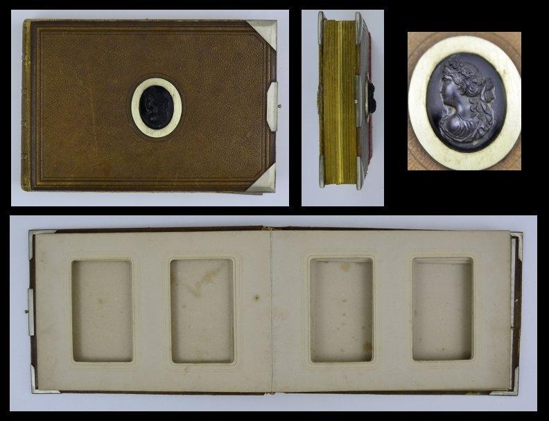 Fotoalbum Gründerzeit, Einband mit Relief & Metallbeschlägen, 12 Seiten mit Goldschnitt für CDV-Fotos