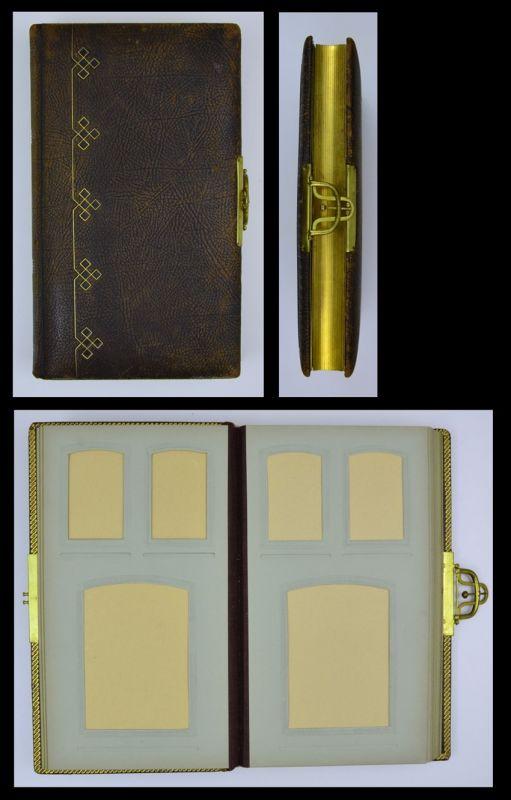 Fotoalbum mit Ledereinband, Metallschliesse, 14 Seiten mit Goldschnitt für CDV - und Kabînettfotos
