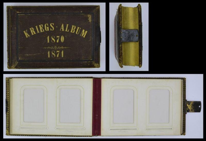 Fotoalbum Kriegs-Album 1870 /71 mit Ledereinband, Metallschliesse, 25 Seiten mit Goldschnitt für CDV-Fotos