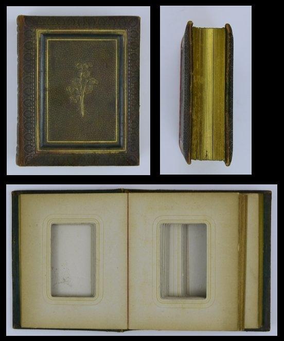 Fotoalbum Jugendstil mit Ledereinband, 25 Seiten mit Goldschnitt für CDV-Fotos