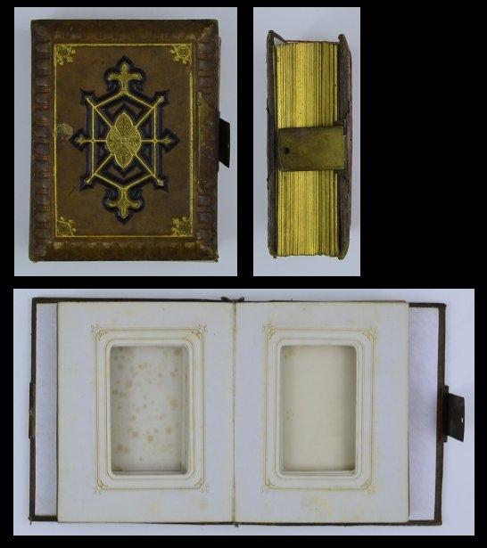 Fotoalbum mit Ledereinband & Ornamenten, Metallschliesse, 25 Seiten mit Goldschnitt für CDV-Fotos