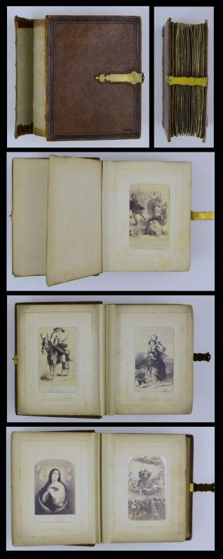 Fotoalbum mit Ledereinband, mit 8 Gemälde-Fotografien, Metallschliesse, 25 Seiten für CDV-Fotos