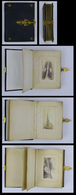Fotoalbum 22 Fotografien 1864, Italien, Schweiz, Deutschland, 24 Seiten für CDV-Fotos
