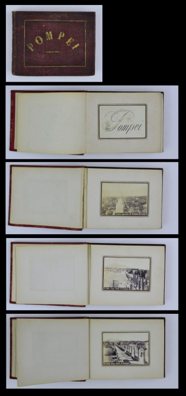 Fotoalbum 27 Fotografien Roberto Rive, Ansicht Pompei 1875, Pantheon, Teatro u.a., 72 Seiten mit CDV-Fotos