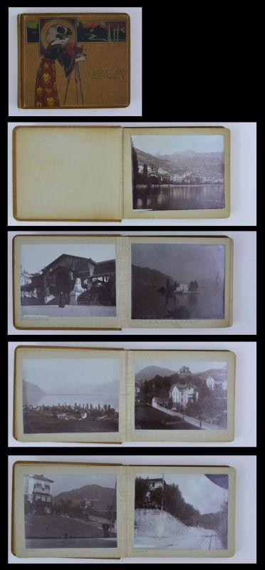 Fotoalbum 40 Fotografien, Ansicht Montreux, Bahnhof, Strassenbahn, Grand Hotel, schöner Jugenstil Einband, 20 Seiten