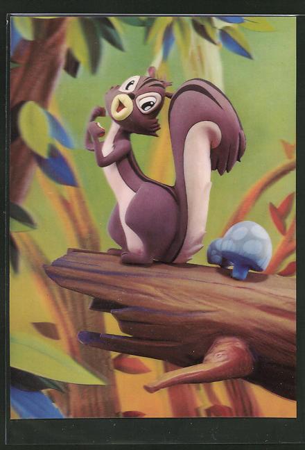 3D-AK A Squirrel, Eichhörnchen auf einem Baumstamm
