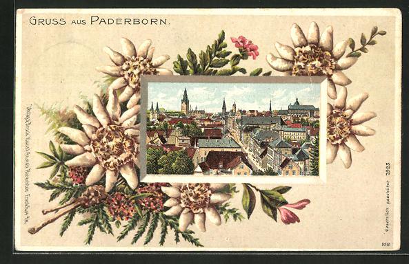 Passepartout-Lithographie Paderborn, Teilansicht der Stadt, Passepartout mit Edelweiss