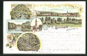 Lithographie Buckow / Märk. Schweiz, Pritzhagener Mühle, Poetensteig am Sophienfliess, Kirche