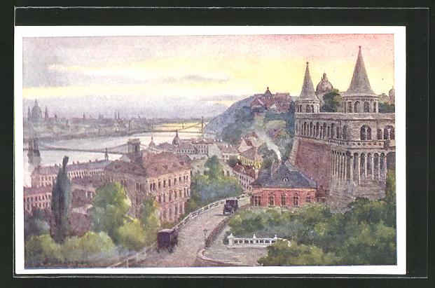 Künstler-AK Hans Götzinger: Budapest, An der Fischerbastei