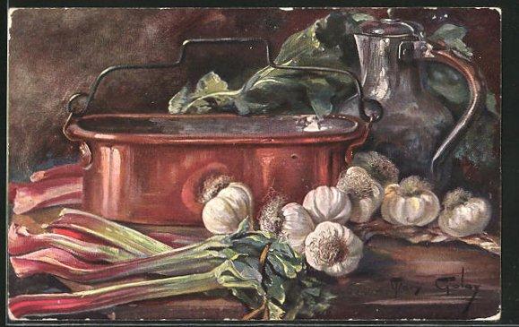 Künstler-AK Mary Golay: Stillleben, Gemüse auf einem Tisch