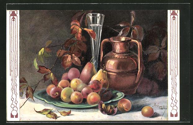 Künstler-AK Mary Golay: Stillleben, Birnen und Aprikosen auf einem Teller