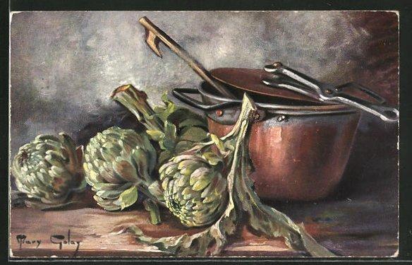 Künstler-AK Mary Golay: Stillleben, Gemüse neben einem Kupfertopf