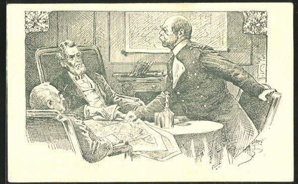 AK Bismarck bei den Friedensverhandlungen mit Jules Favre u. Thiers 1871