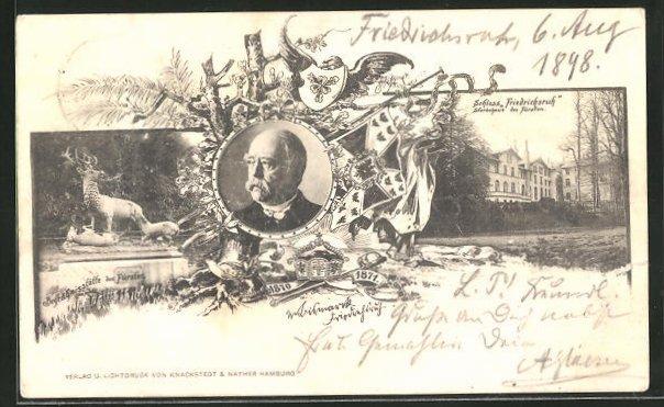 AK Bildnis Bismarcks, Schloss Friedrichsruh, Begräbnisstätte des Fürsten
