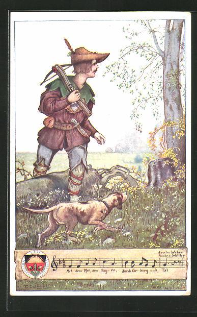 Künstler-AK T. Welzl: Jäger mit Hund auf Streifzug durch den Wald