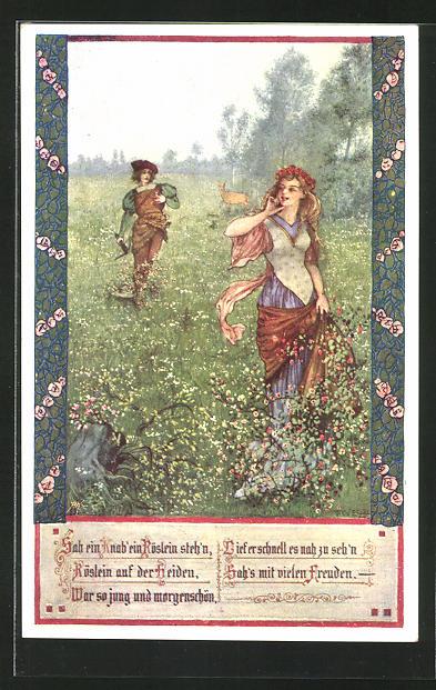 Künstler-AK T. Welzl: Jäger mit junger Frau auf der Heide