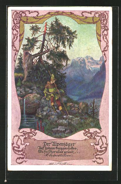 Künstler-AK T. Welzl: Alpenjäger an einer Quelle sitzend