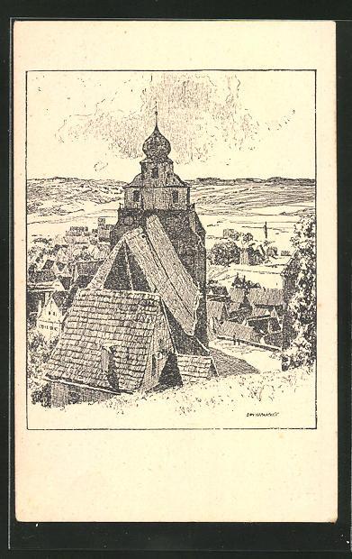 Künstler-AK Otto Ubbelohde: Stiftskirche in Herrenberg