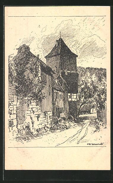 Künstler-AK Otto Ubbelohde: Torturm in Bebenhausen