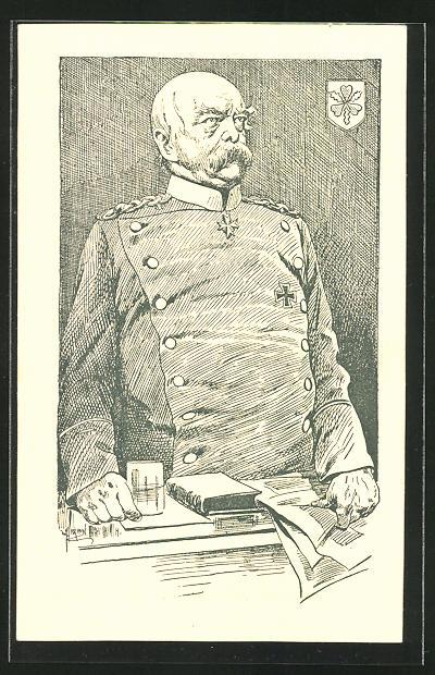 Künstler-AK Braun: Portrait von Bismarck
