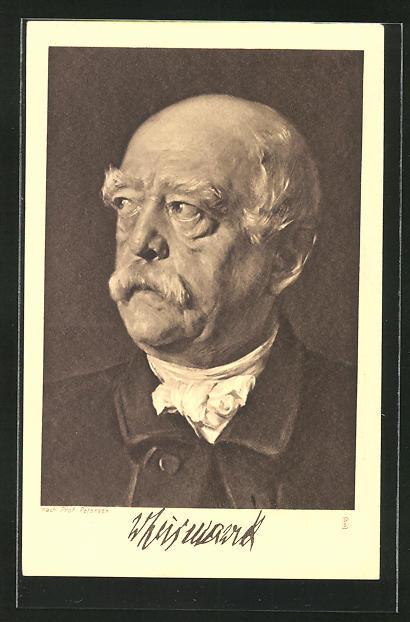 Künstler-AK Prof. Petersen: Bismarck, Kopfportrait