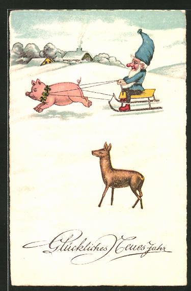 AK Zwerg fährt auf einem Schlitten der von einem Schwein gezogen wird