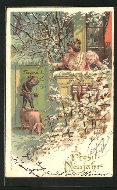 AK Frau beobachtet einen kleinen Schornsteinfeger auf einem Schwein mit Goldverzierungen