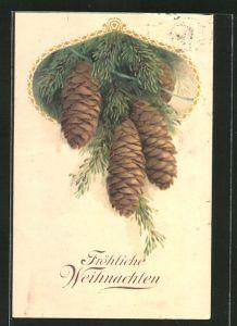AK Tannenzapfen an Tannenzweigen, Fröhliche Weihnachten