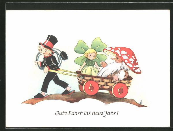 AK kleiner Schornsteinfeger zieht ein menschliches Kleeblatt und einen menschlichen Pilz in einem Wagen