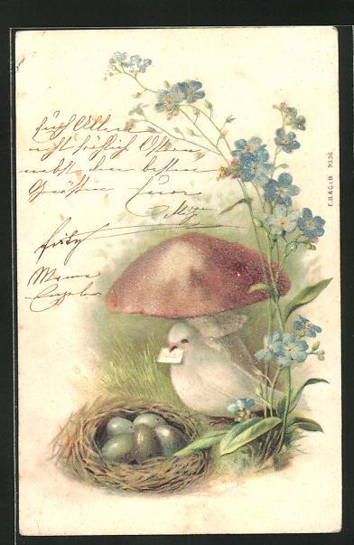 Glitzerperl-Lithographie Taube mit Zettelchen im Schnabel, Pilz, Eier im Nest
