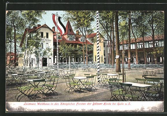 AK Halle a. S., Gasthaus Leistners Waldhaus in den Königlichen Forsten der Dölauer Haide