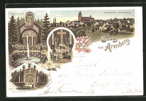 Lithographie Arenberg, Erlöser-Kapelle, Arme-Seelen-Kapelle, Inneres der Erlöser-Kapelle, Totalansicht