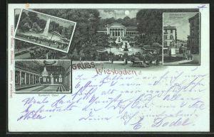 Mondschein-Lithographie Wiesbaden, grosse Fontaine im Kurgarten, Kurhaus, Kranzplatz m. Kochbrunnen, Kurhaus-Saal