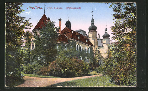 AK Altdöbern, Gräfl. Schloss vom Park her gesehen