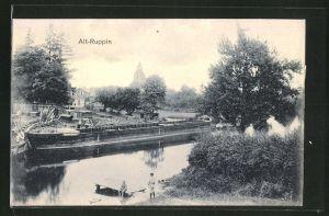 AK Alt-Ruppin, Frachtkahn und Blick zur Kirche