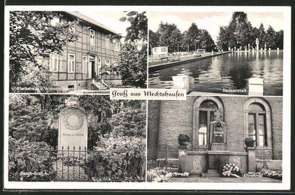 AK Mechtshausen, Sterbehaus von Wilhelm Busch, Busch-Grab, Ehrenmal und Badeanstalt