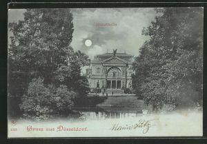 Mondschein-AK Düsseldorf, Kunsthalle mit Anlagen