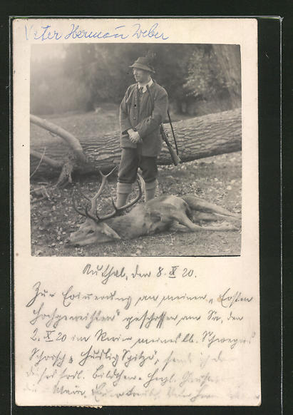 AK Stlozer Jäger mit erlegtem Hirsch