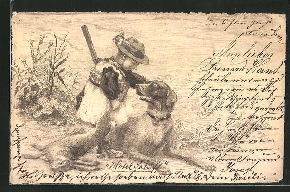 AK Jäger mit Gewehr schmust mit Jagdhund
