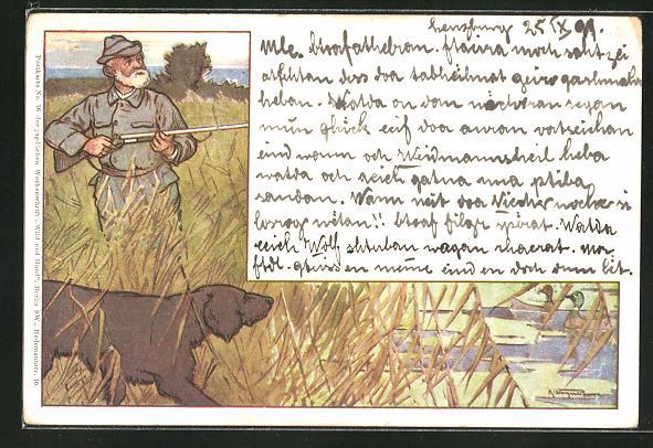 Künstler-AK Jäger mit Jagdhund auf Entenjagd