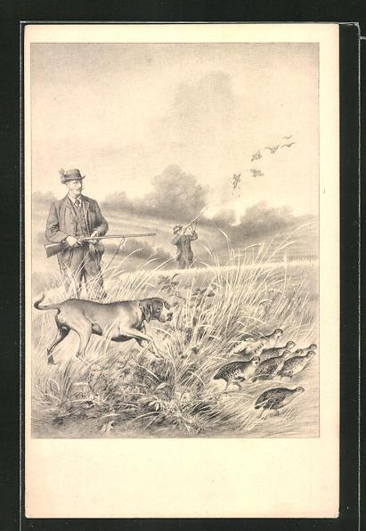 AK Jäger mit Jagdhund zielen auf Vögel