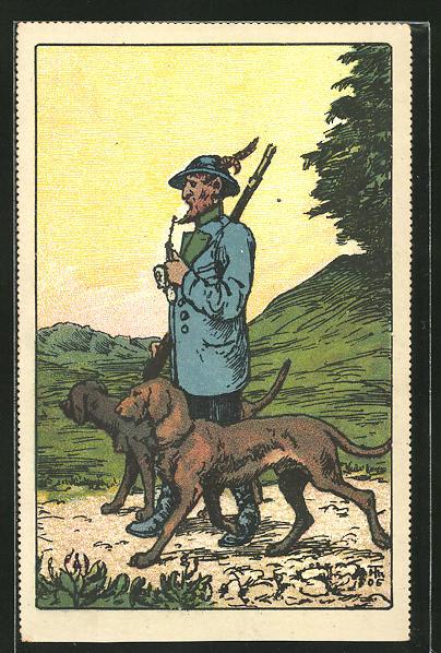 Künstler-AK Jäger mit Pfeife und seinen zwei Hunden