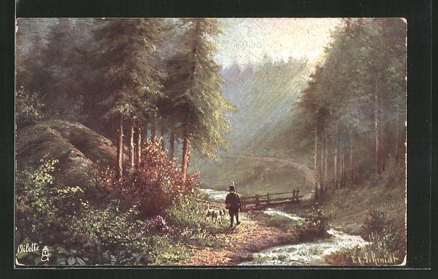 Künstler-AK Jäger spaziert mit Jagdhund am Fluss entlang