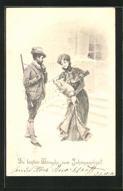 AK junge Dame mit einem Schwein, Jäger
