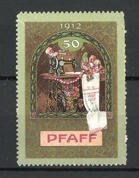 Reklamemarke 50 Jahre Firma Pfaff, Zwerge an einer Nähmaschine